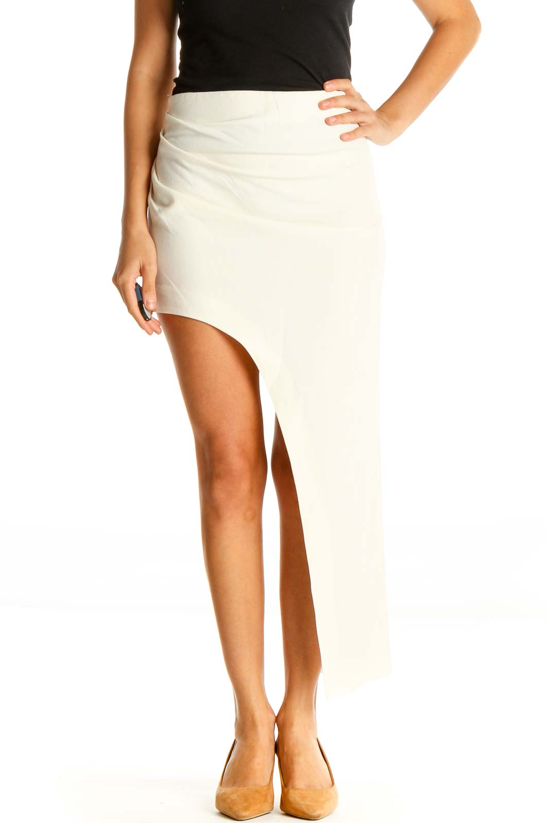 Beige Classic A-Line Skirt Front