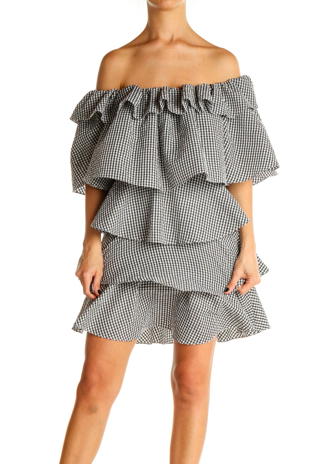 Gray Checkered Chic Fit & Flare Dress Front
