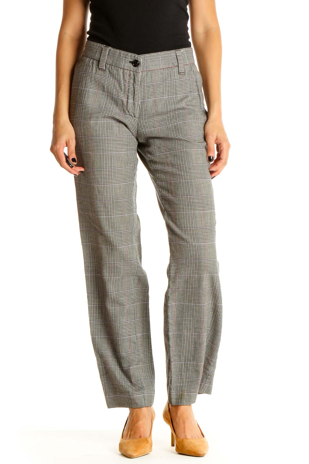 Gray Plaid Printed Chic Trousers Front