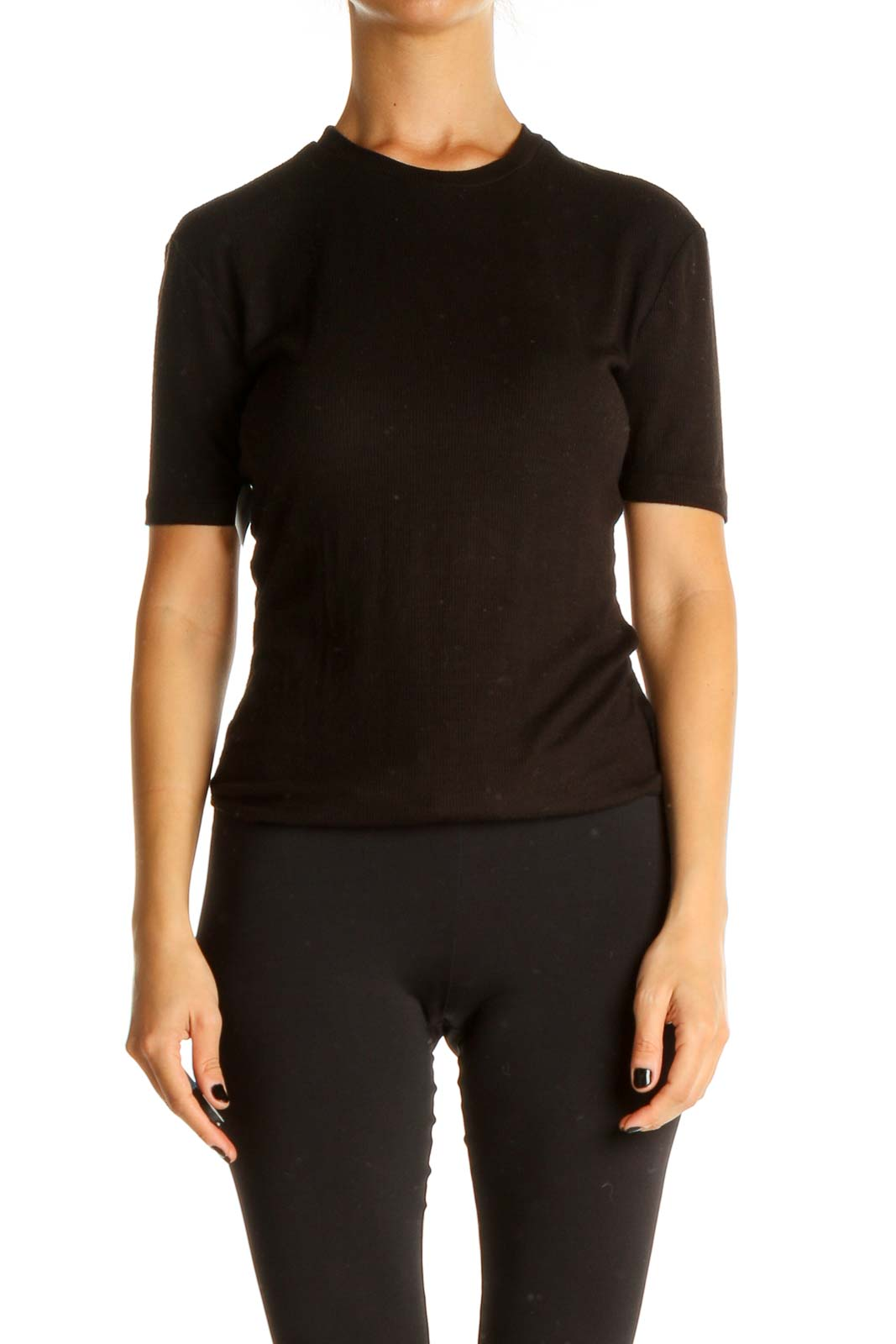 Black Solid All Day Wear Bodysuit Front