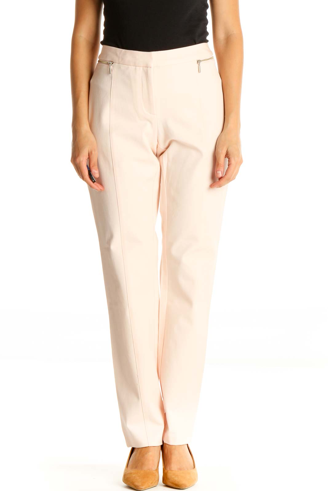 Pink Casual Trousers Front