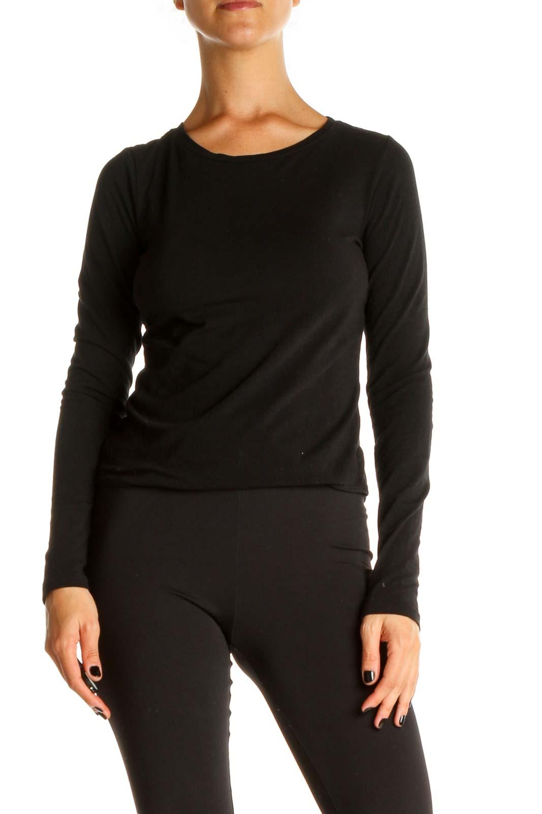 Black Solid Classic Bodysuit Front