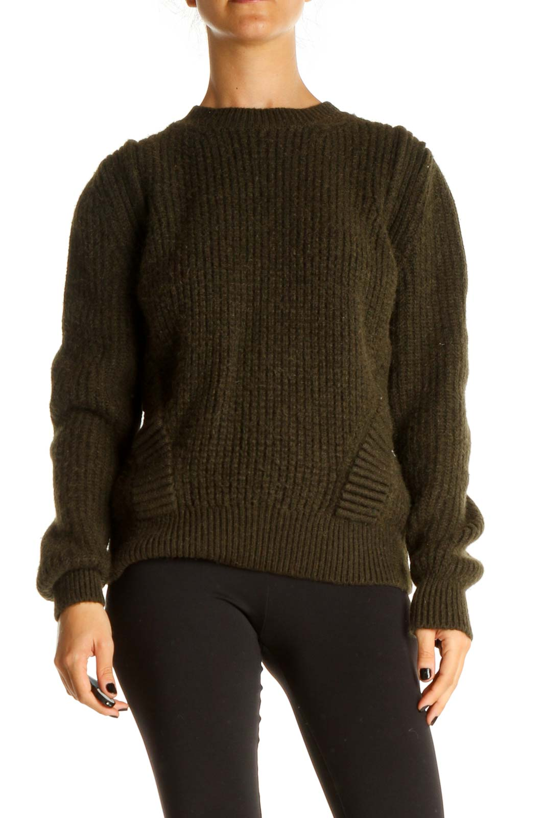 Green Textured Classic Sweater Front