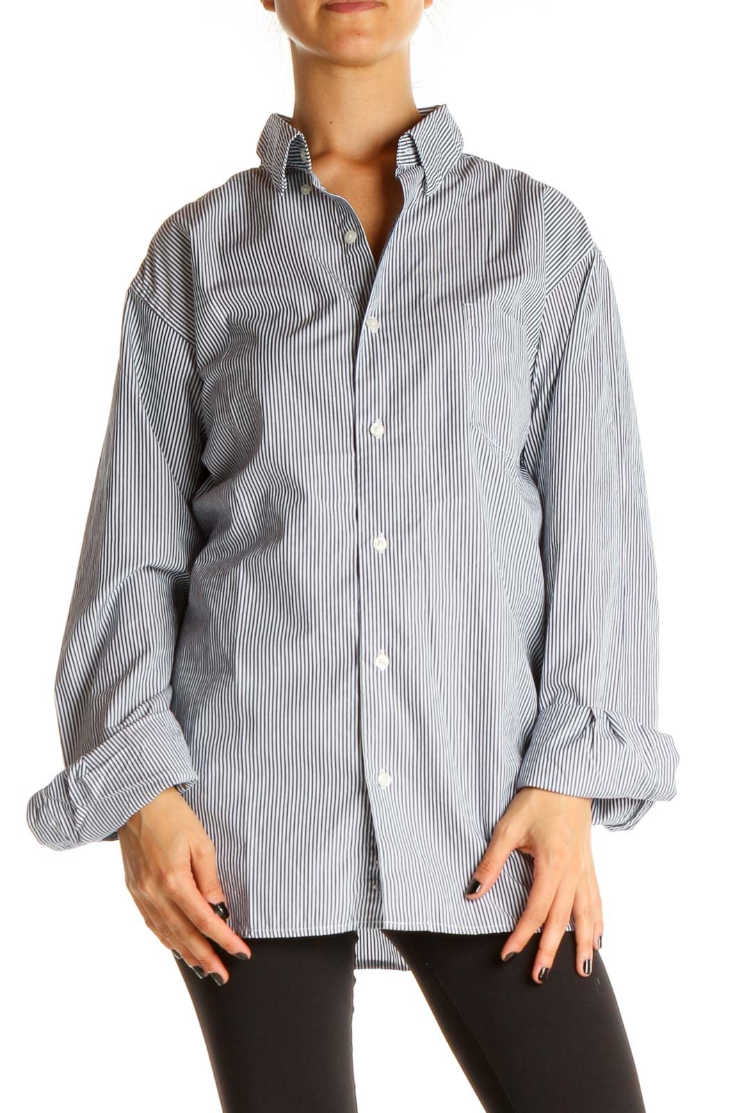 White Blue Striped Work Shirt Front