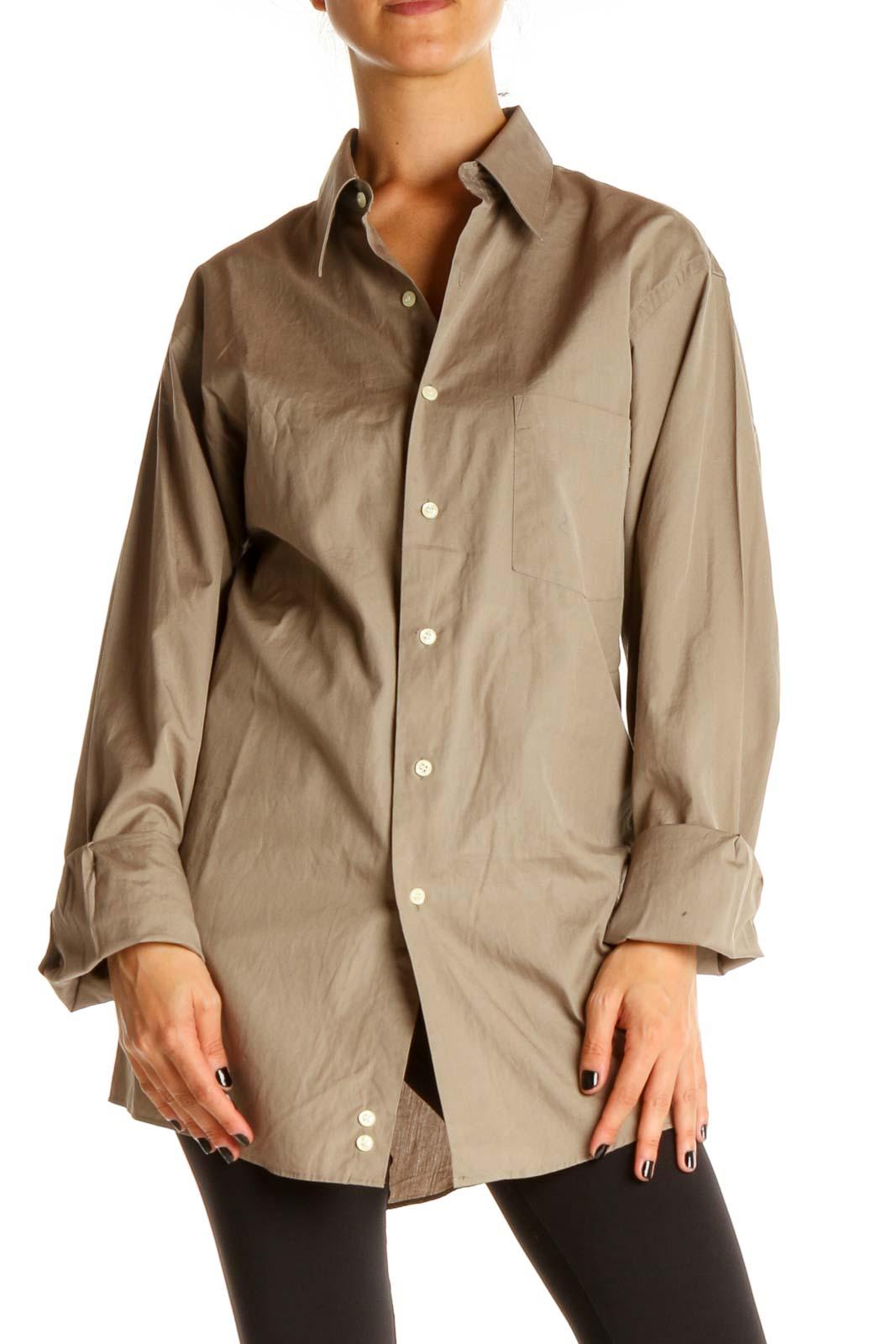 Beige Solid Formal Shirt Front