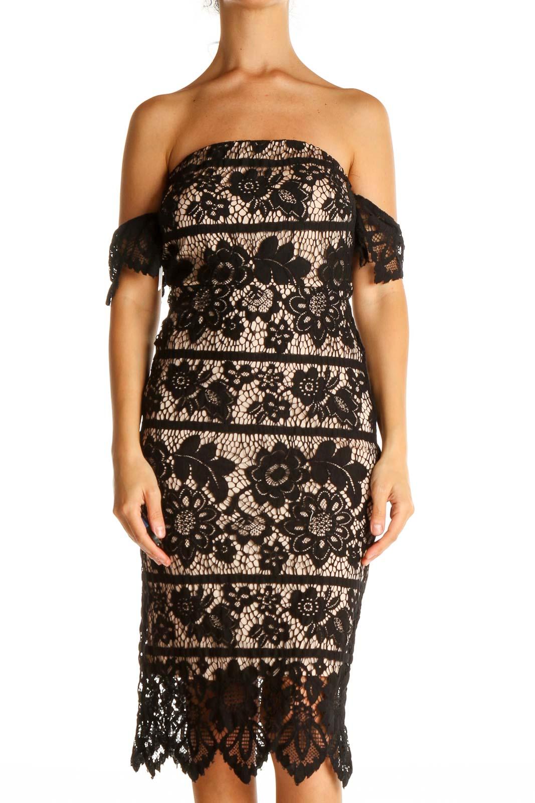 Black Lace Cocktail Sheath Dress Front