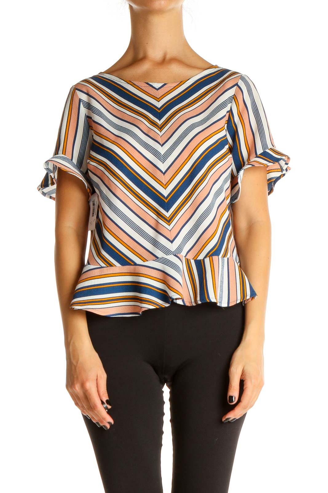 White Striped All Day Wear Blouse Front
