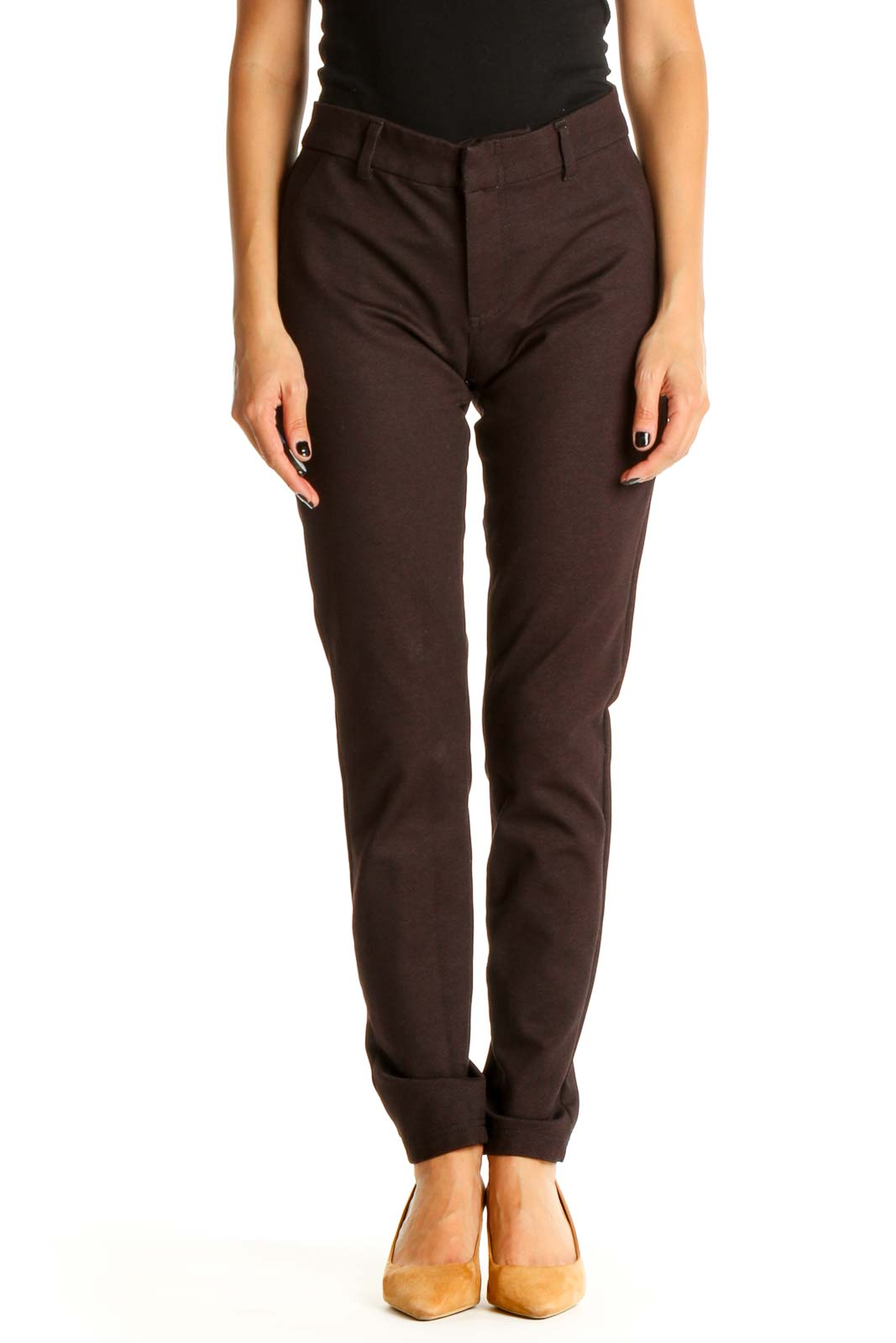 Maroon Printed All Day Wear Skinny Pants Front