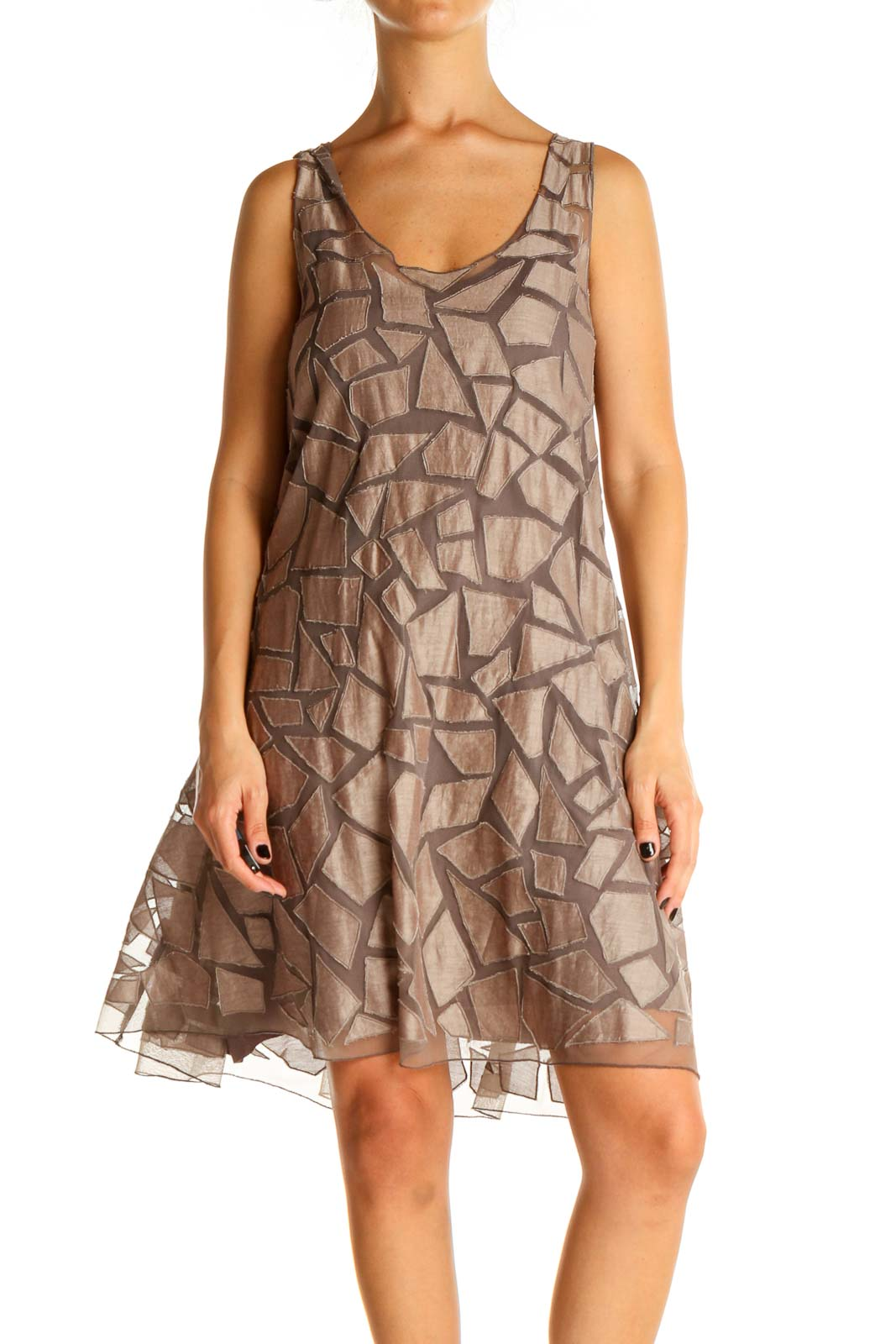 Beige Geometric Print Bohemian Fit & Flare Dress Front