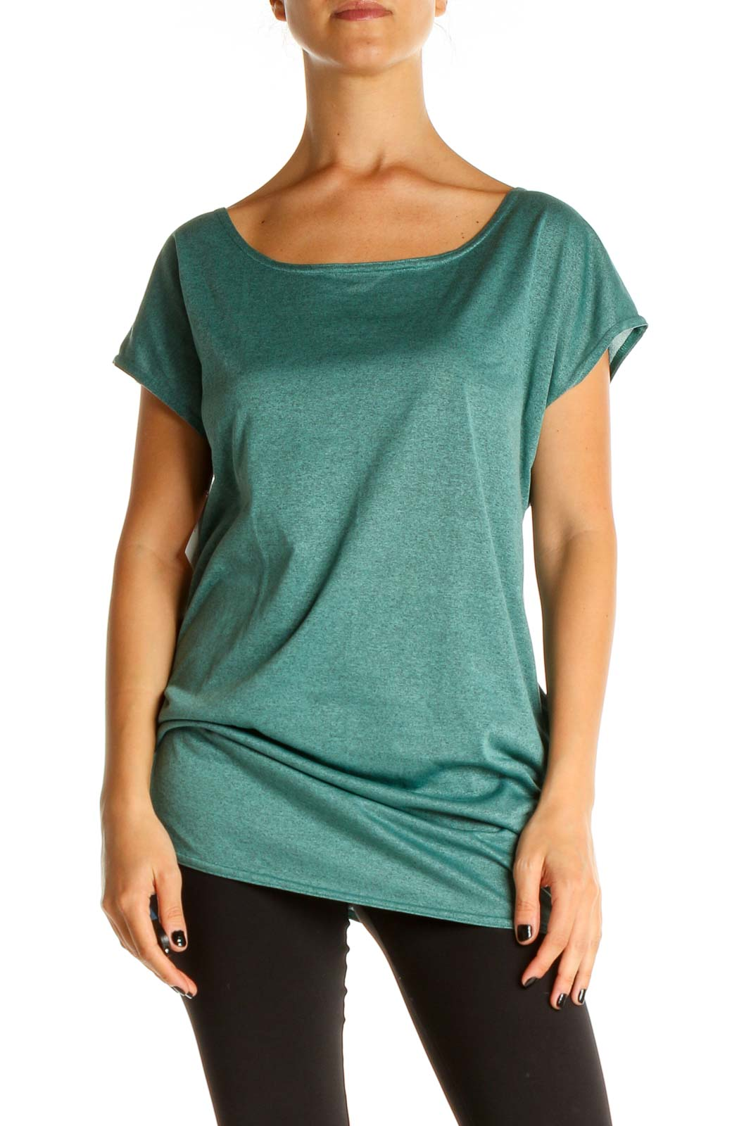 Green Solid Activewear T-Shirt Front