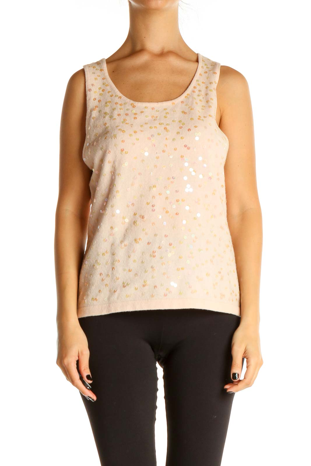 Pink Sequin Casual Tank Top Front