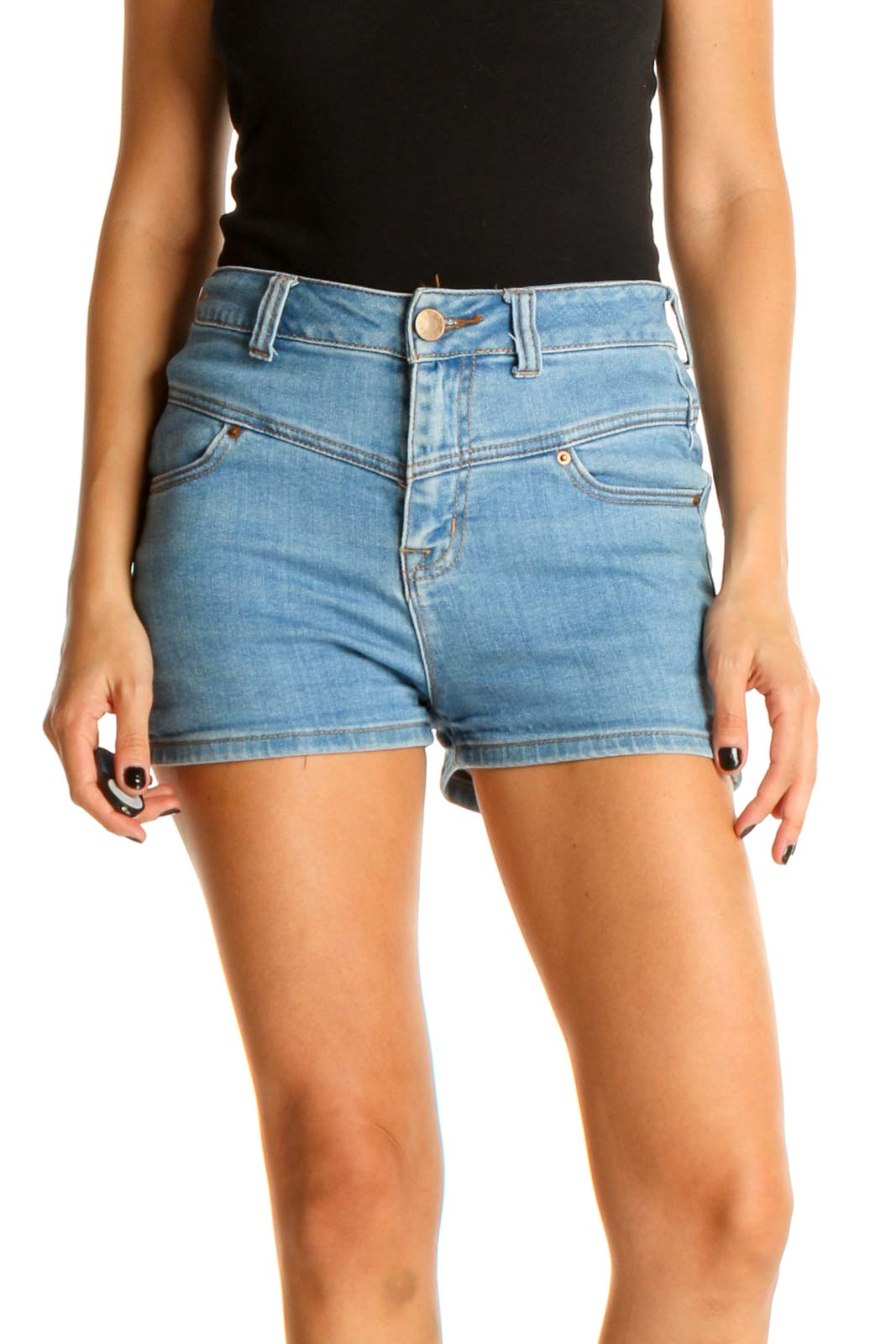 Blue Solid Casual Shorts Front