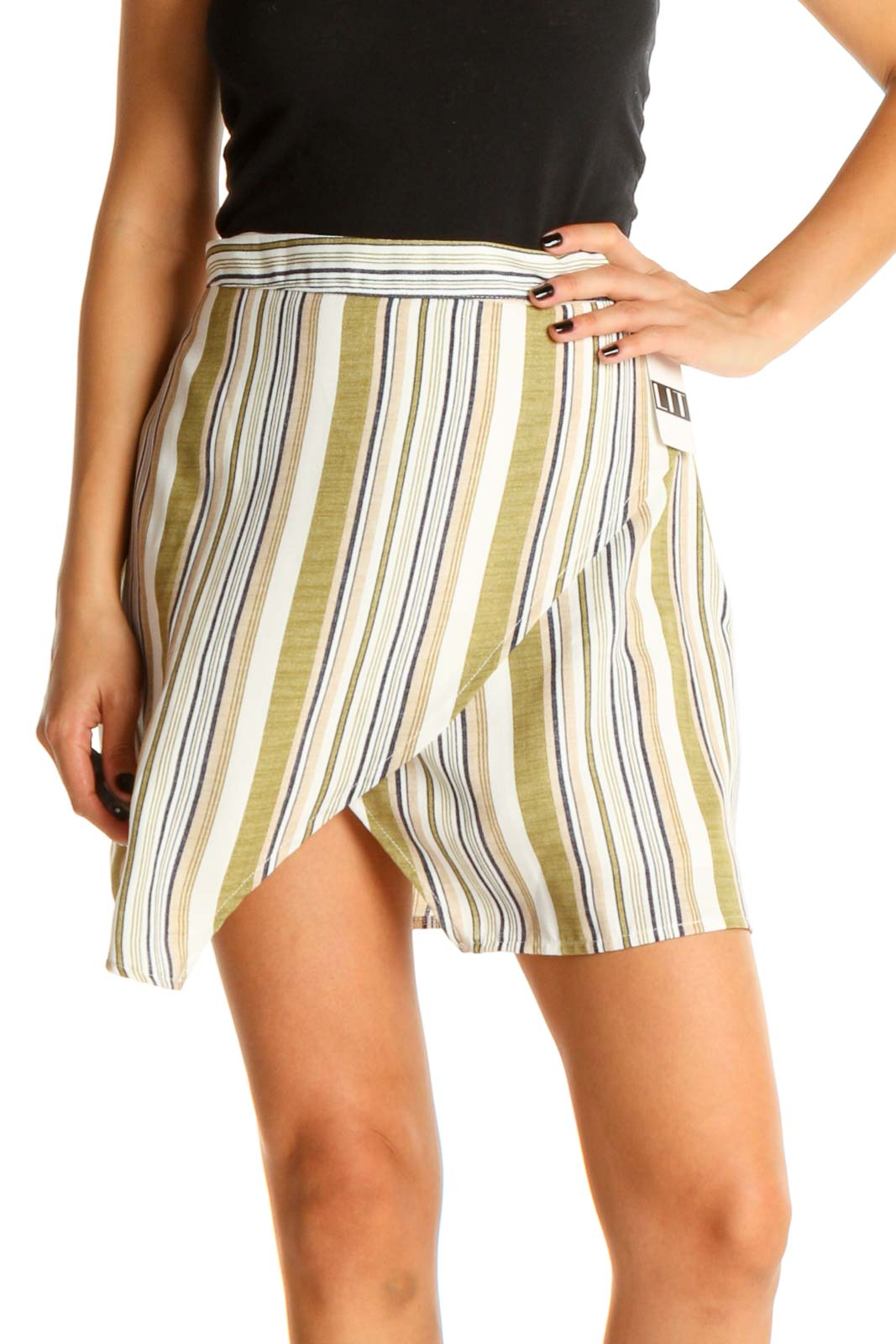 White Striped Brunch Pleated Skirt Front