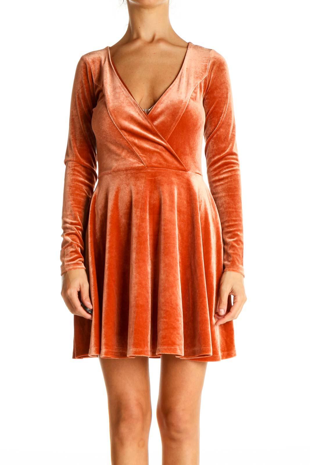 Orange Textured Cocktail Dress Front