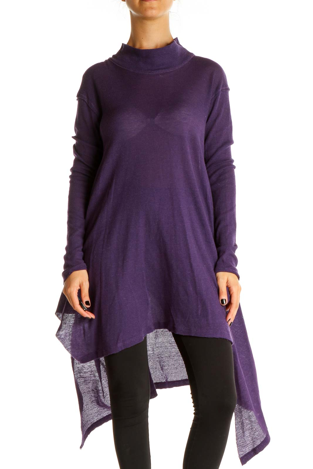 Purple All Day Turtleneck Top Front