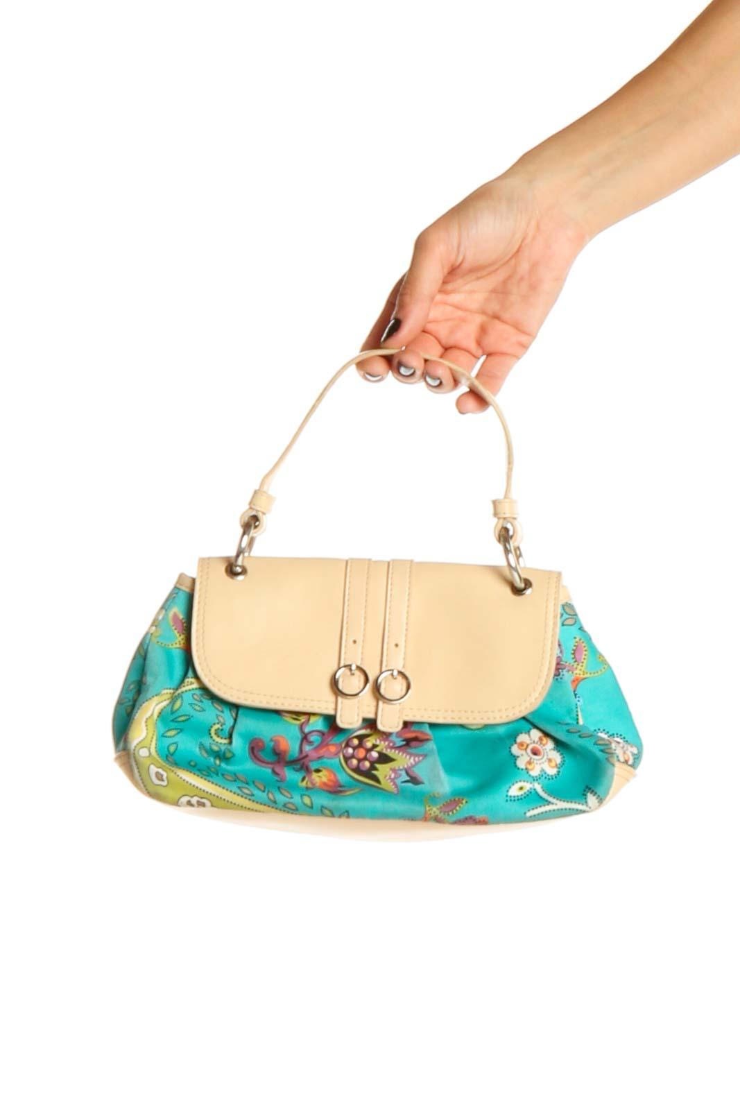 Beige Blue Bag Front