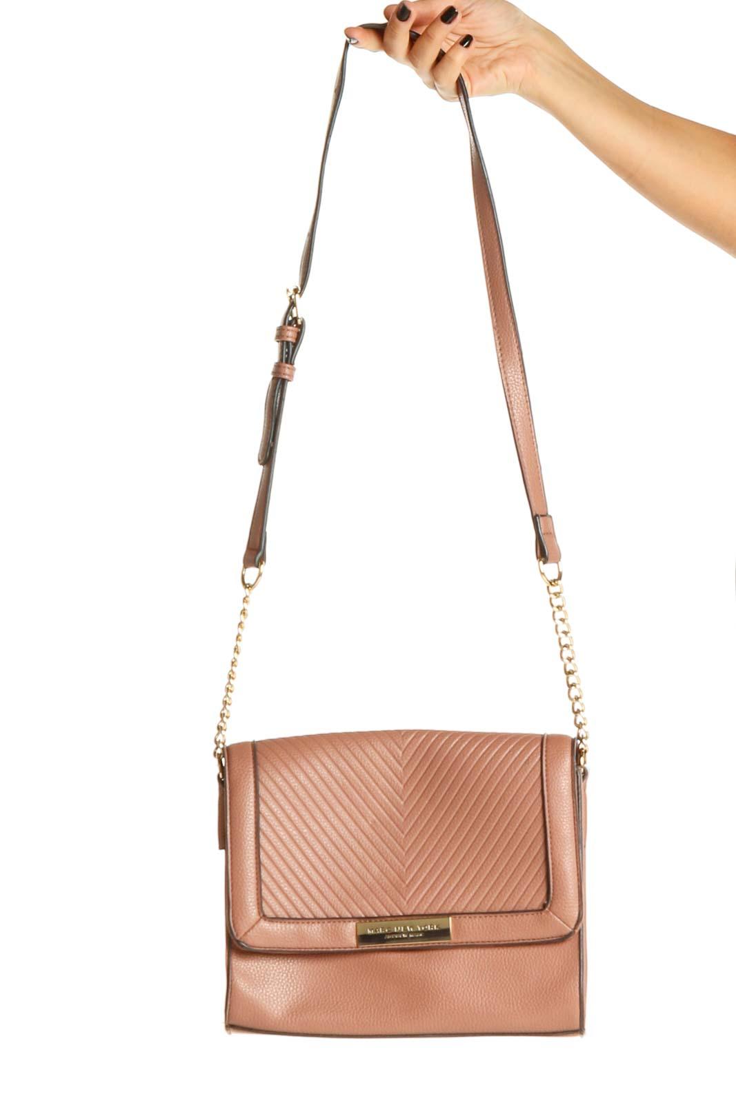 Pink Brown Crossbody Bag Front