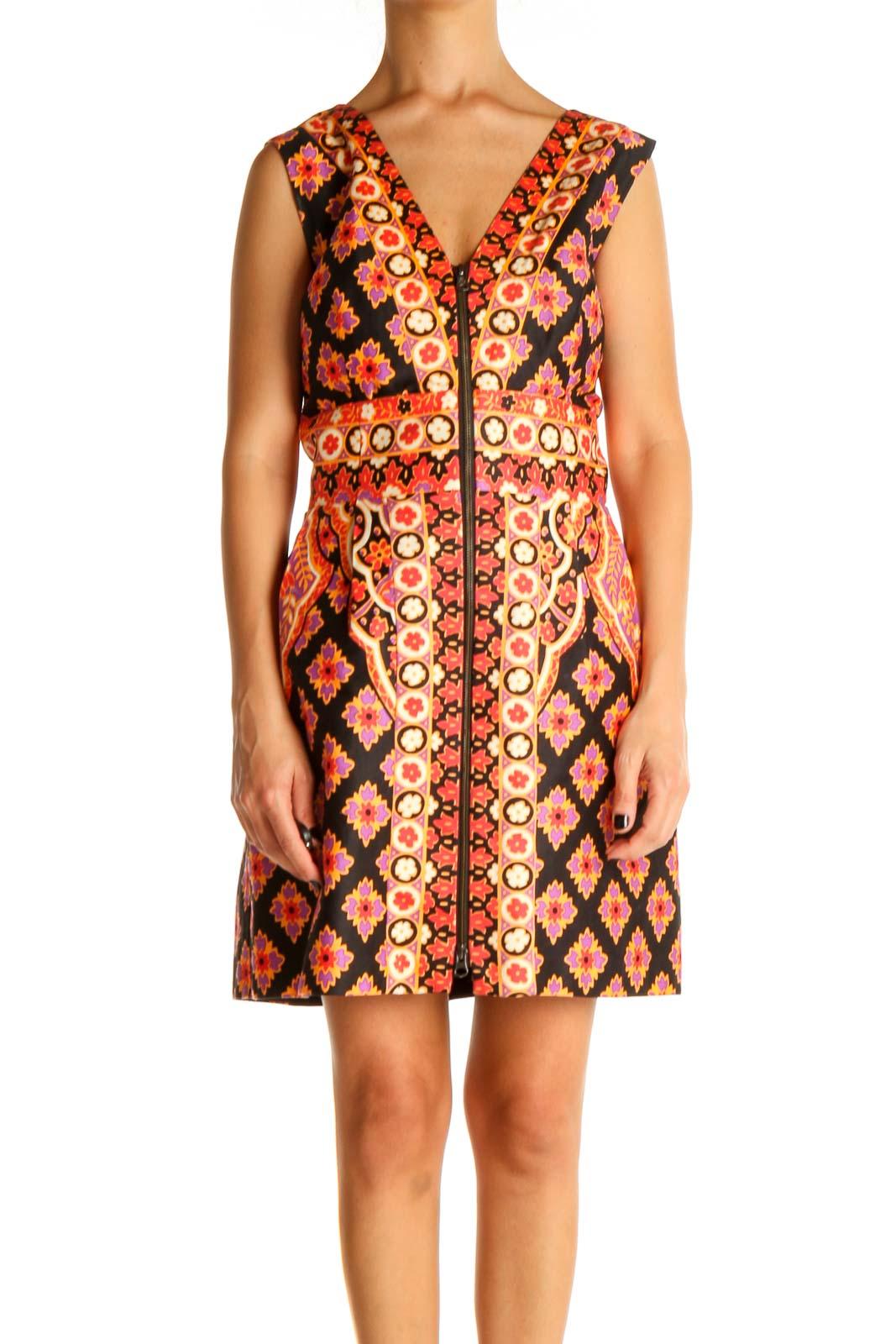 Orange Printed Retro A-Line Dress Front