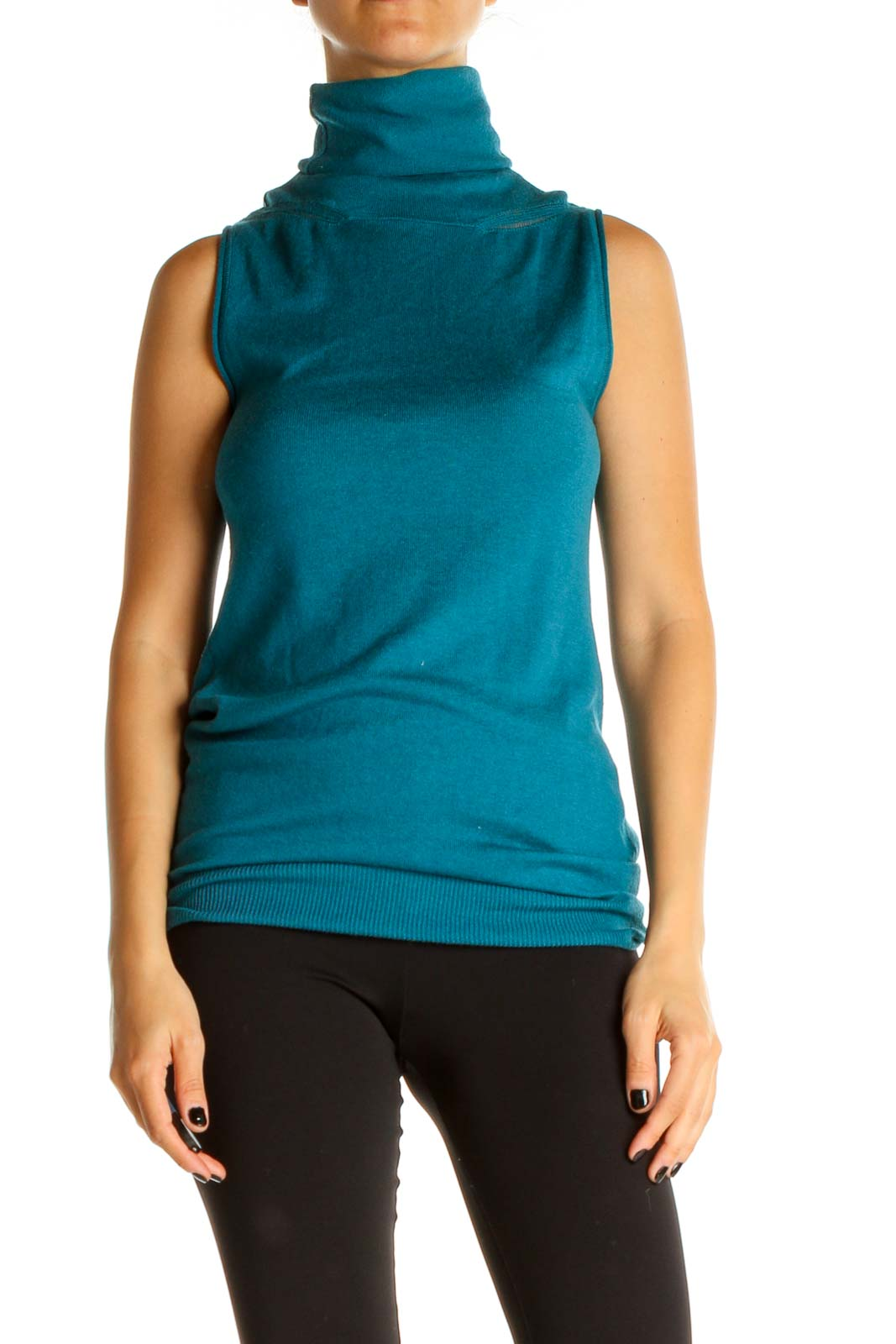 Blue Solid Casual Sleeveless Sweater Front