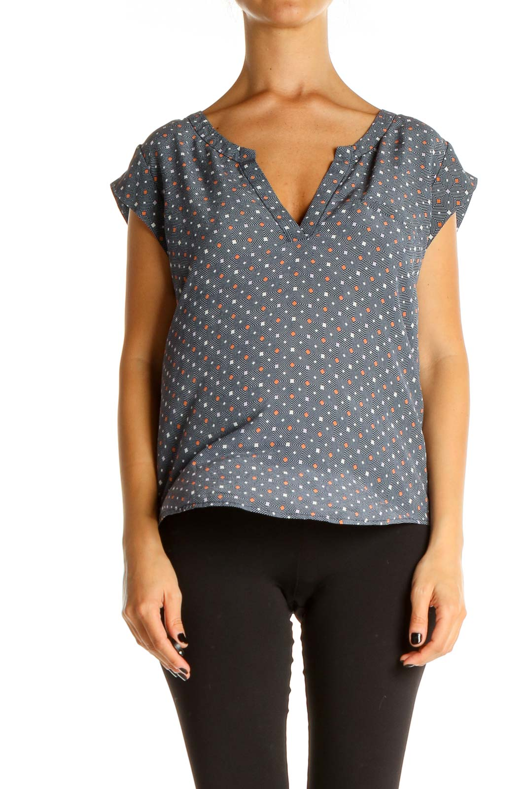 Gray Printed Casual Blouse Front