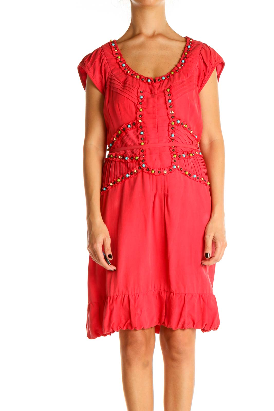 Pink Solid Bohemian Fit & Flare Dress Front