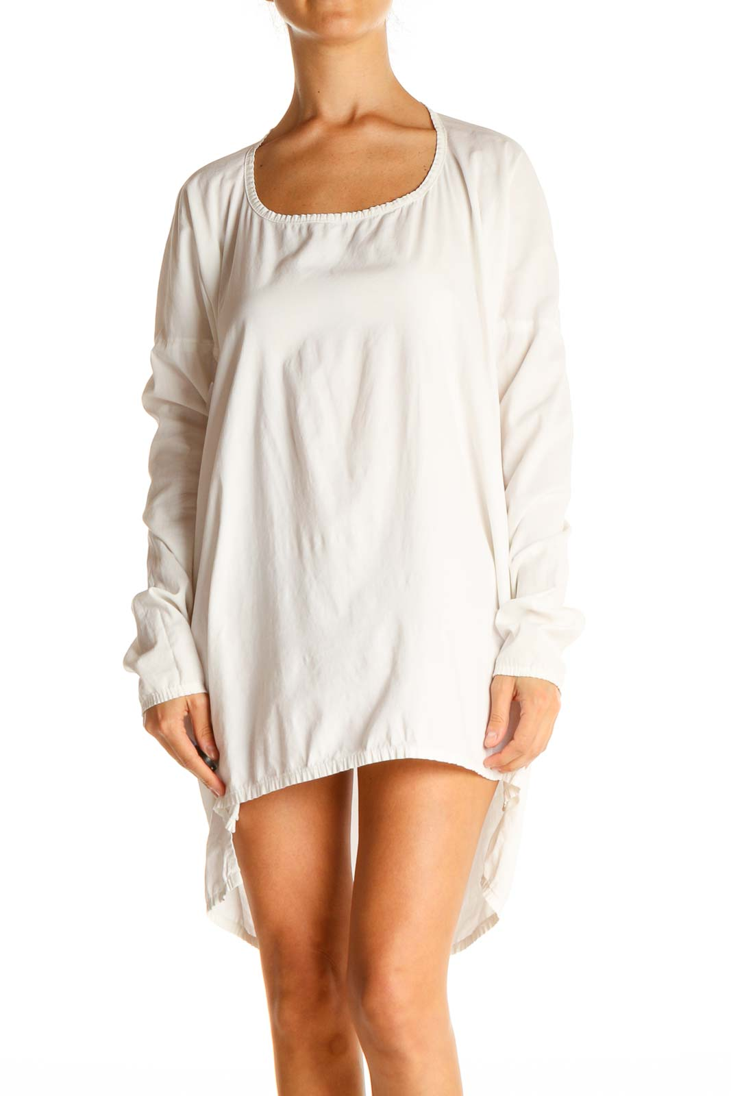 White Solid Day Shift Dress Front