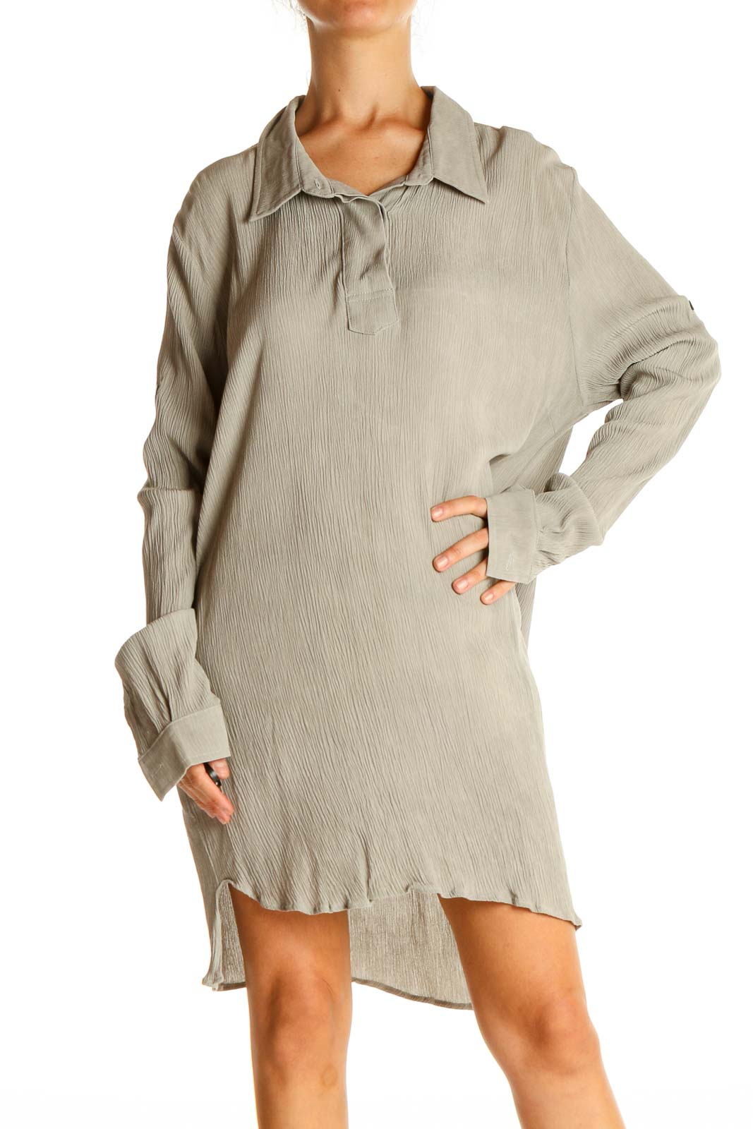 Beige Solid Casual Shift Dress Front