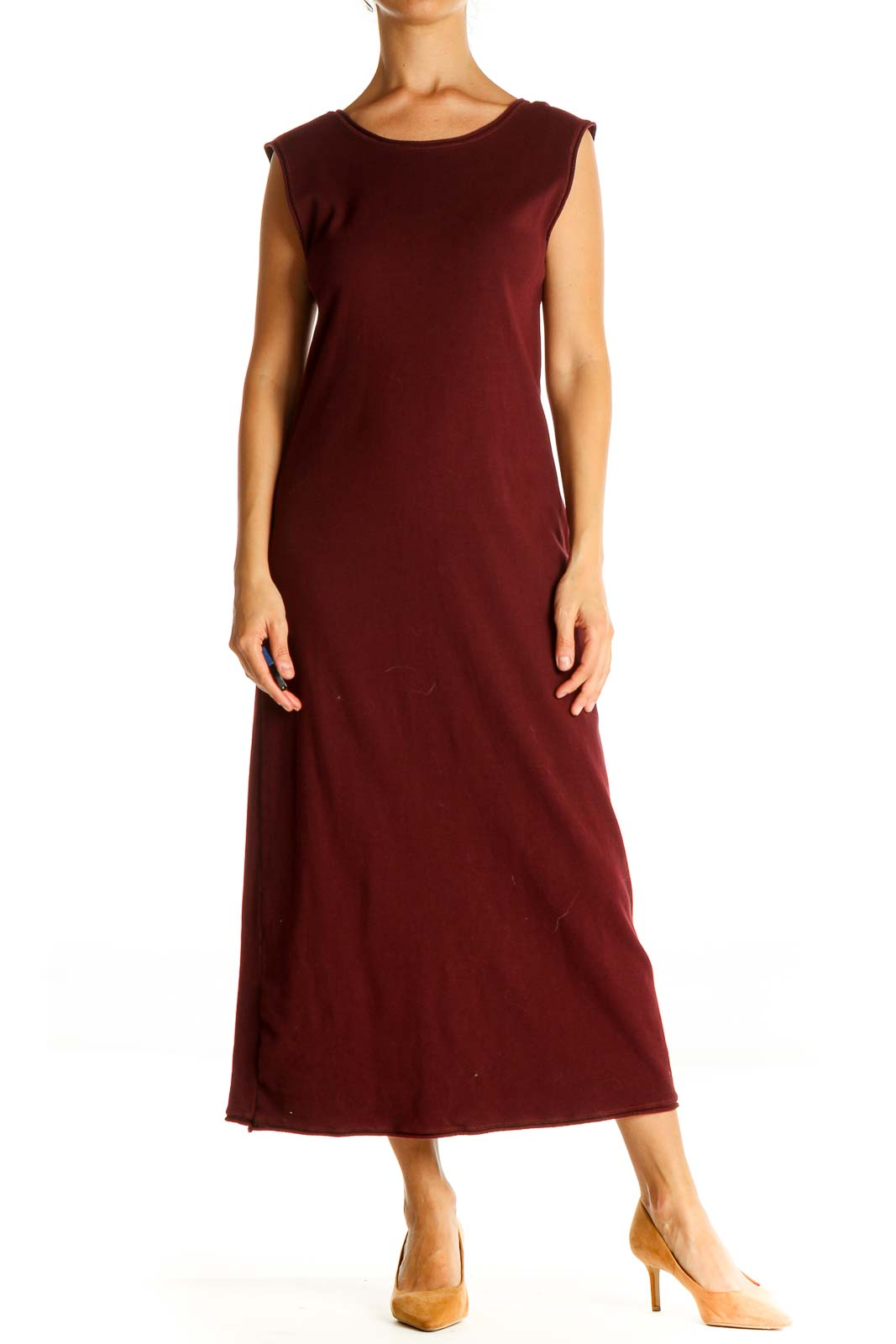 Red Solid Cocktail Column Dress Front