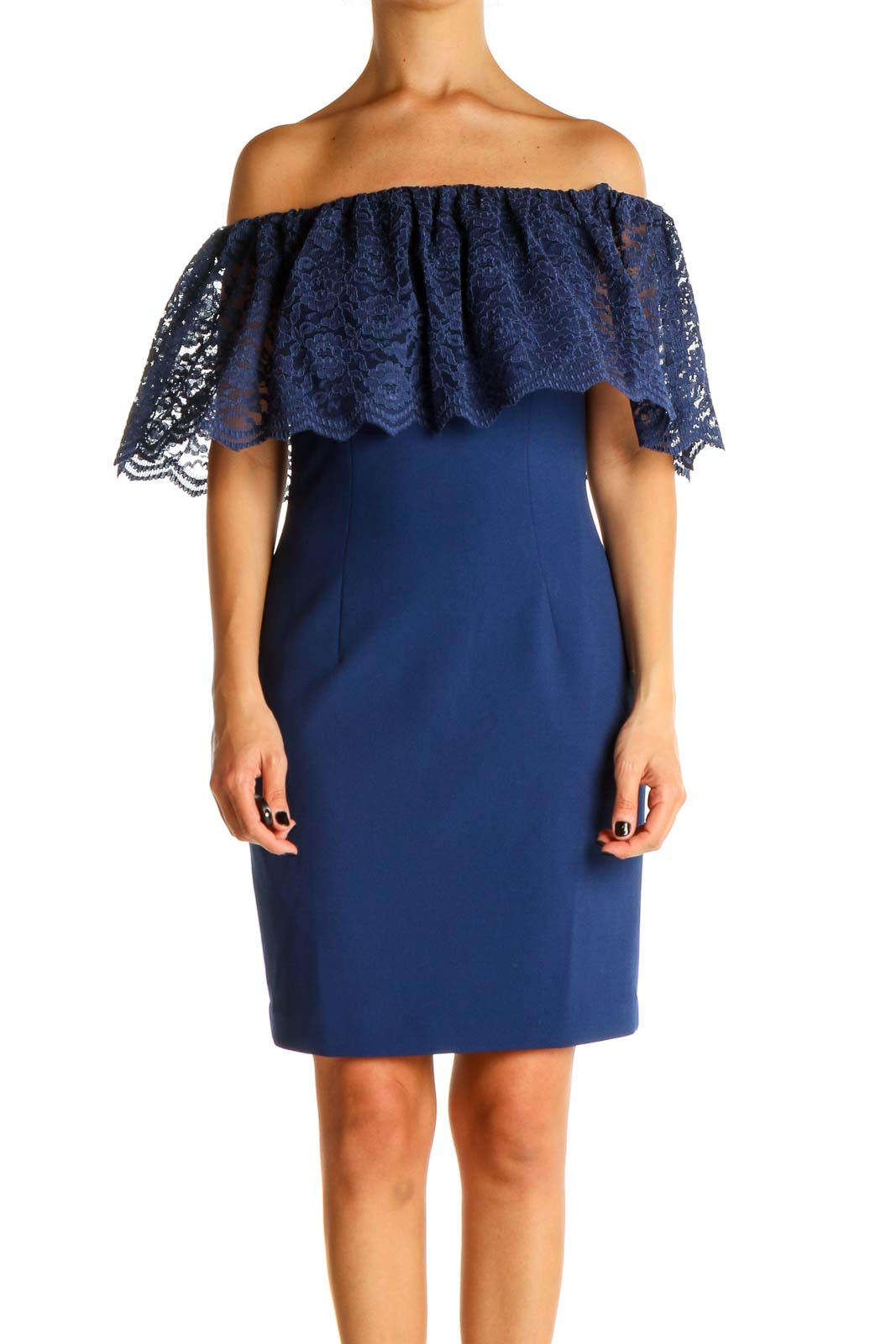 Blue Solid Lace Sheath Dress Front