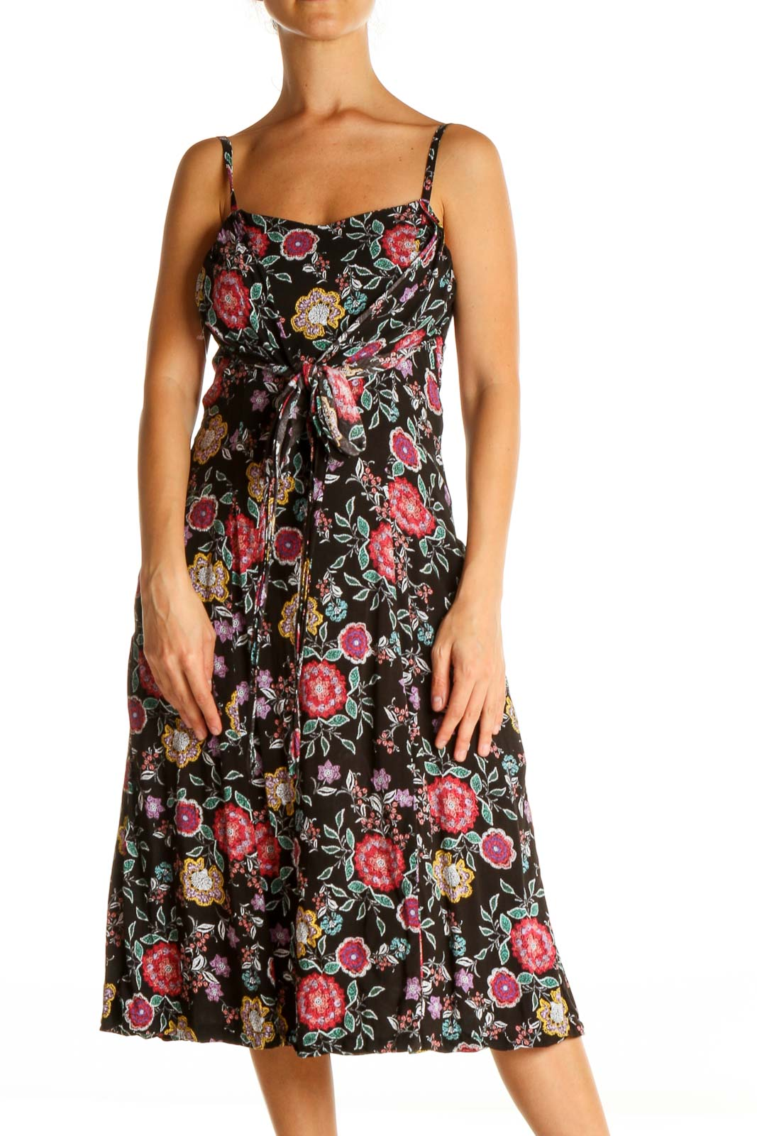 Black Floral Print Retro Fit & Flare Dress Front