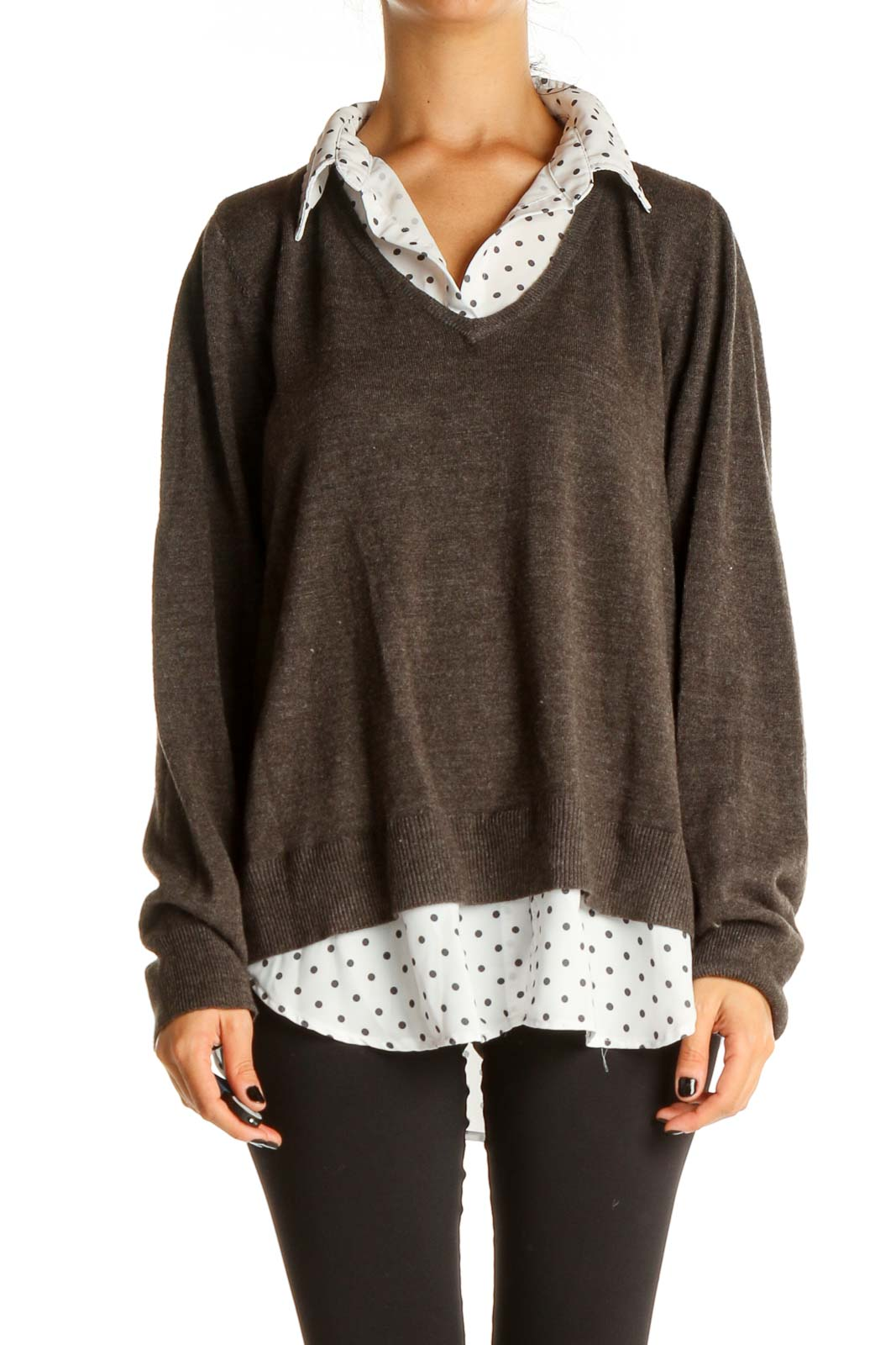 Gray Solid All Day Wear Sweater Front