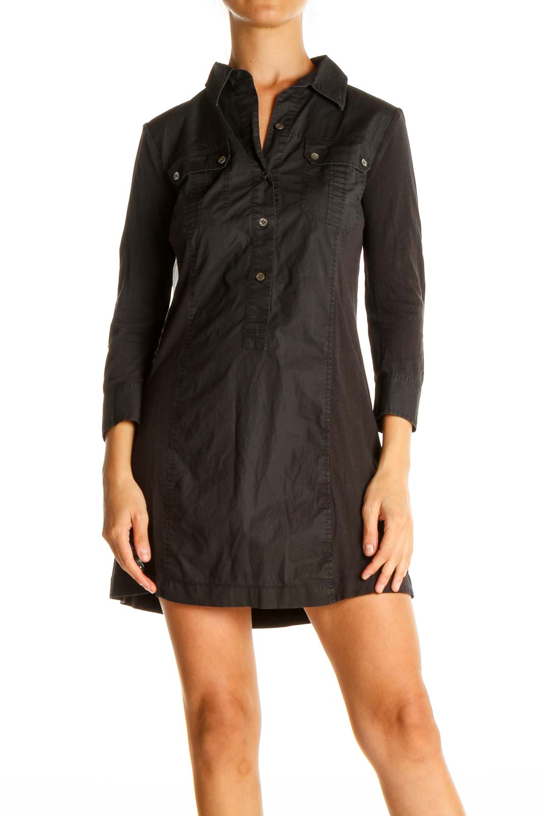 Black Solid Chic Shirt Dress Front