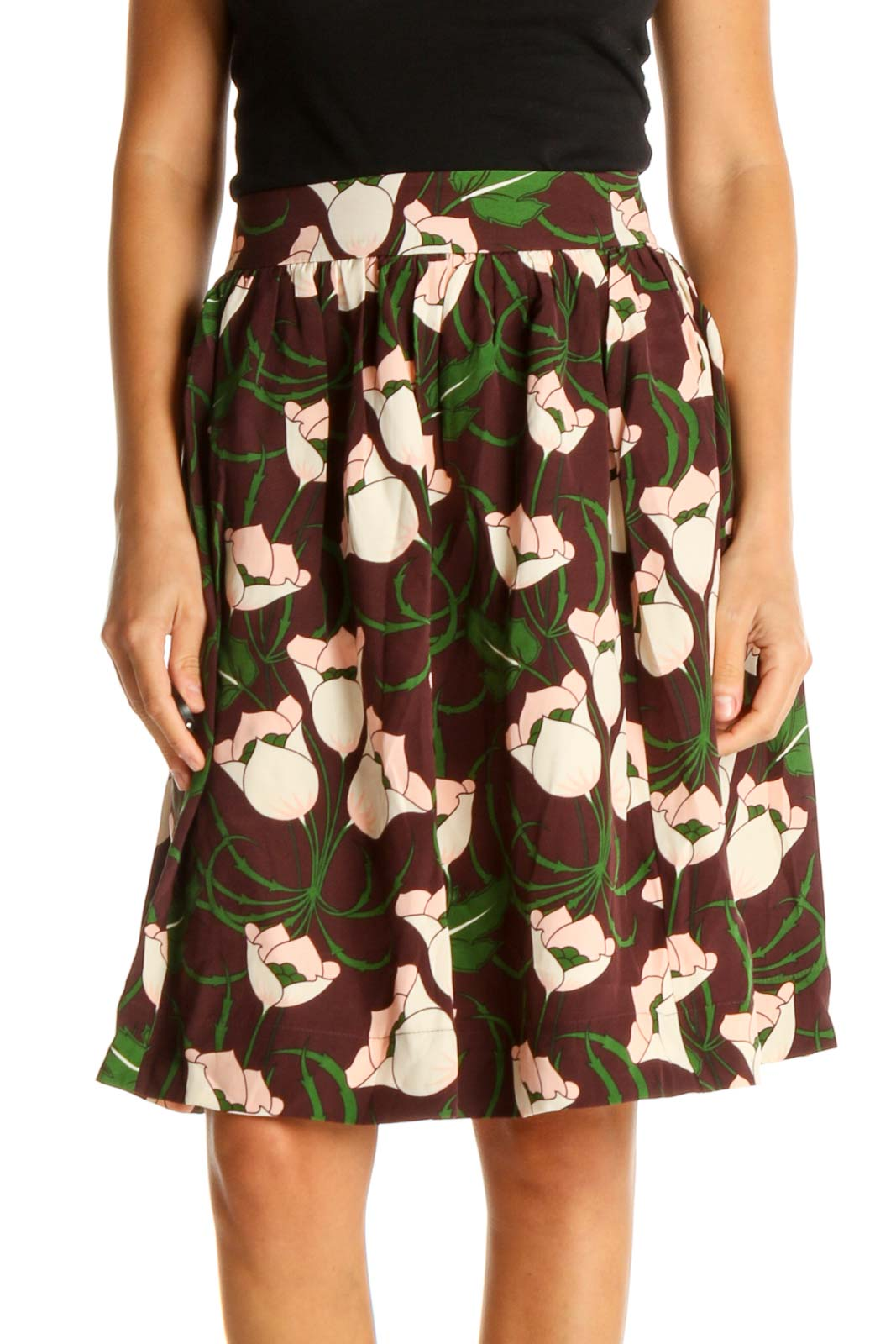 Brown Silk Floral Print Chic A-Line Skirt Front