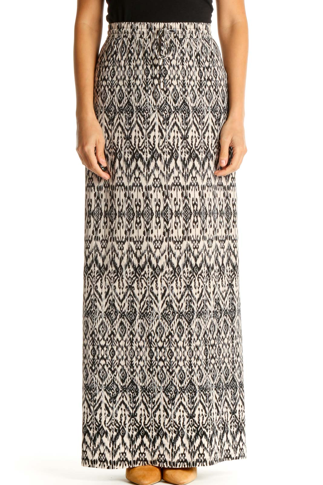 Beige Printed Bohemian A-Line Skirt Front