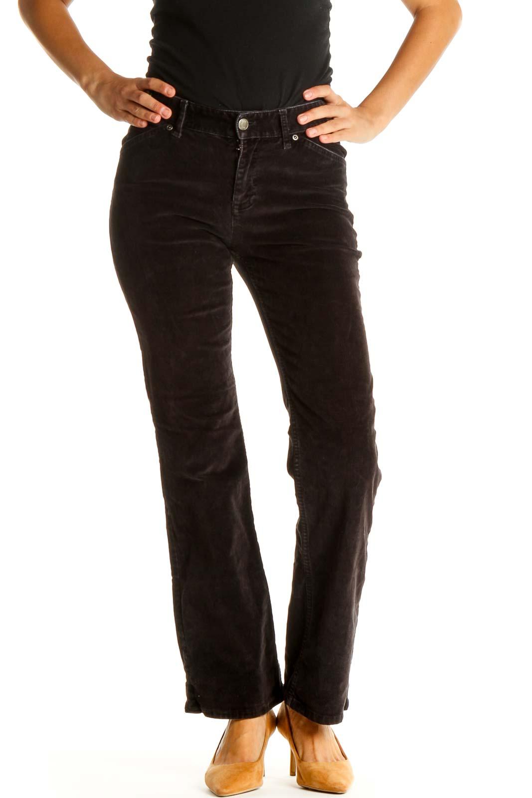 Black Straight Leg Corduroy Jeans Front