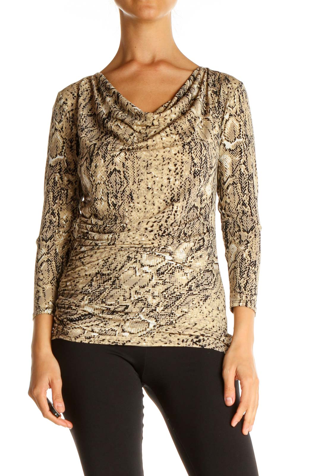 Beige Animal Print Chic Blouse Front