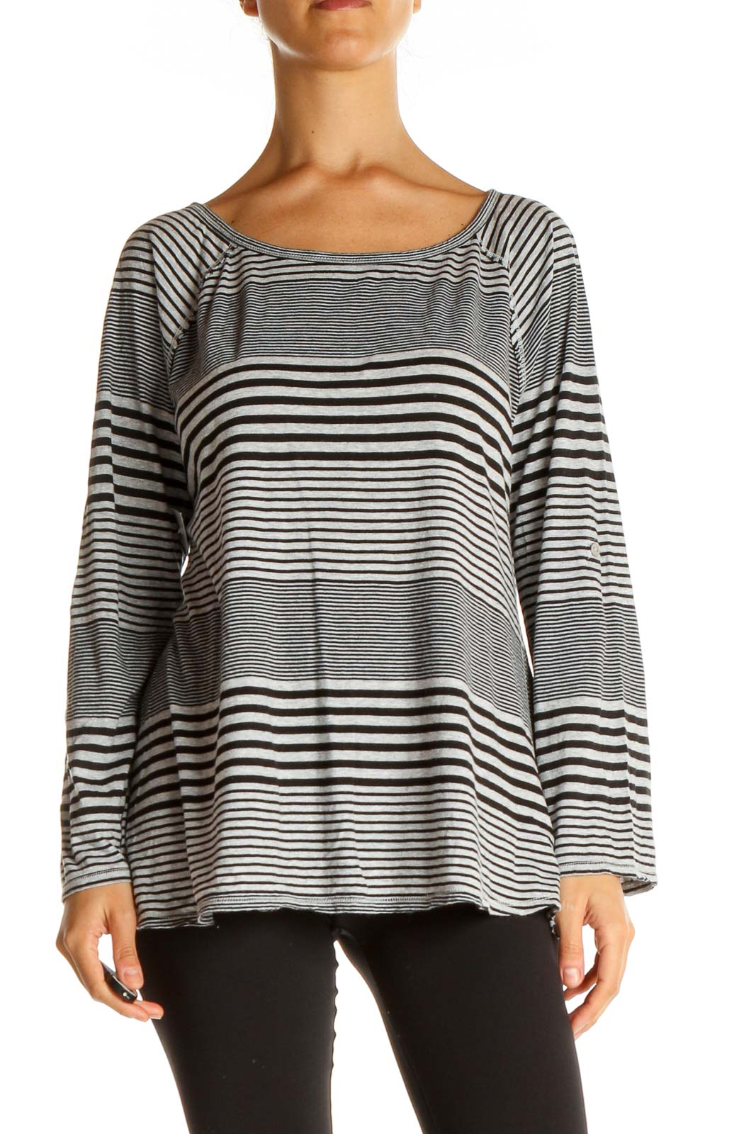 Gray Striped All Day Wear T-Shirt Front