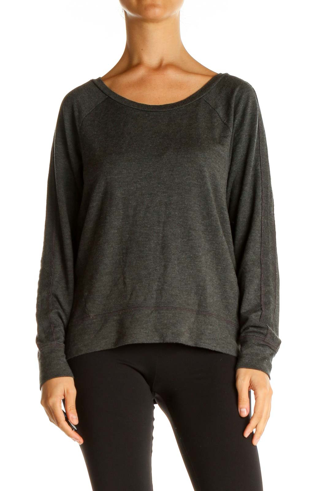 Gray Solid Casual Sweater Front