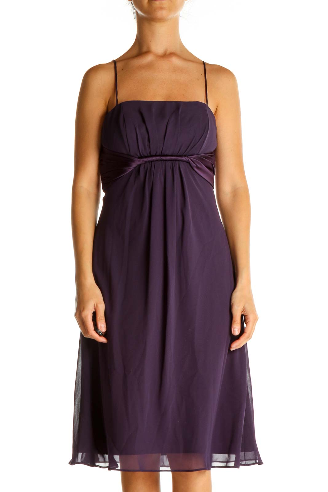 Purple Solid Classic Fit & Flare Dress Front