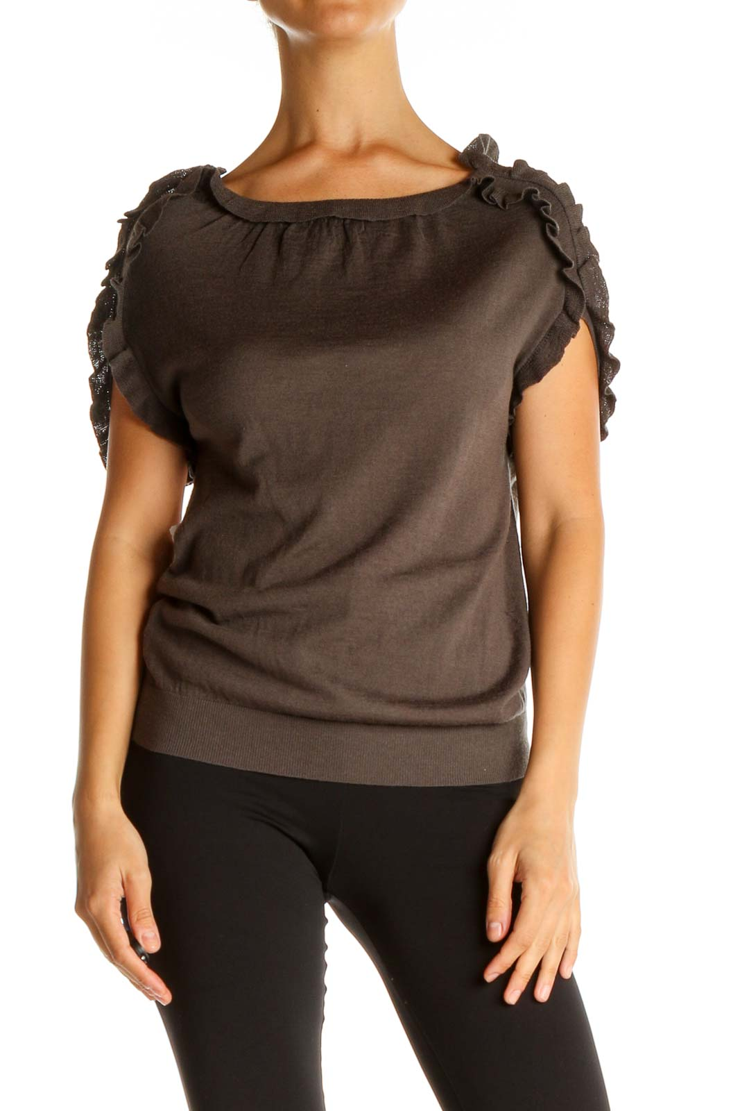 Brown Solid All Day Wear Blouse Front