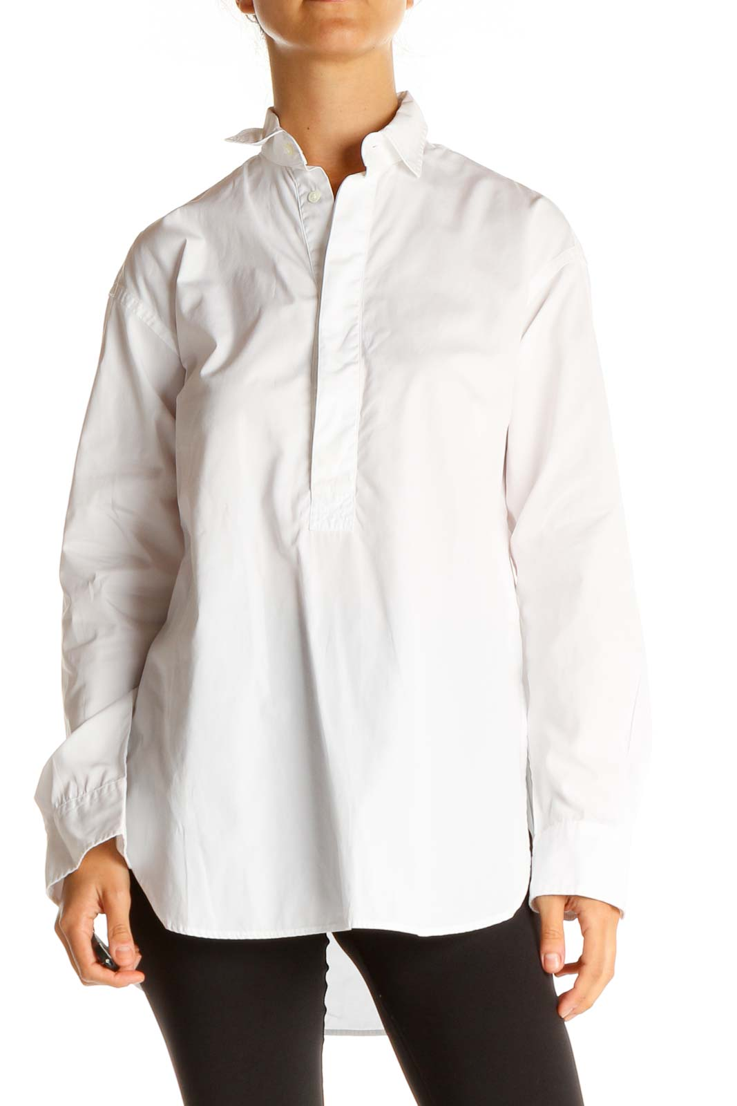 White Solid Classic Shirt Front