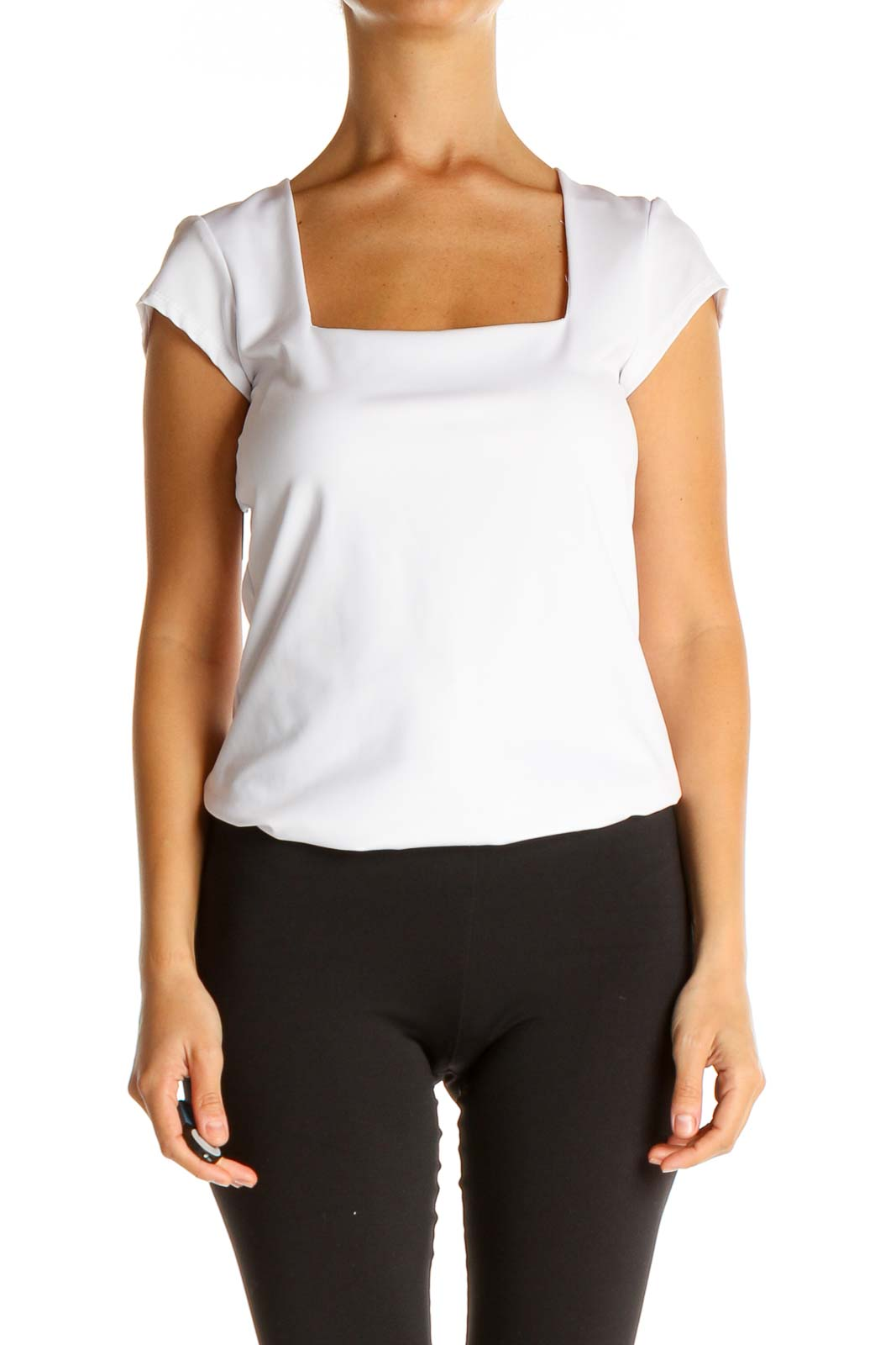 White Solid Casual T-Shirt Bodysuit Front