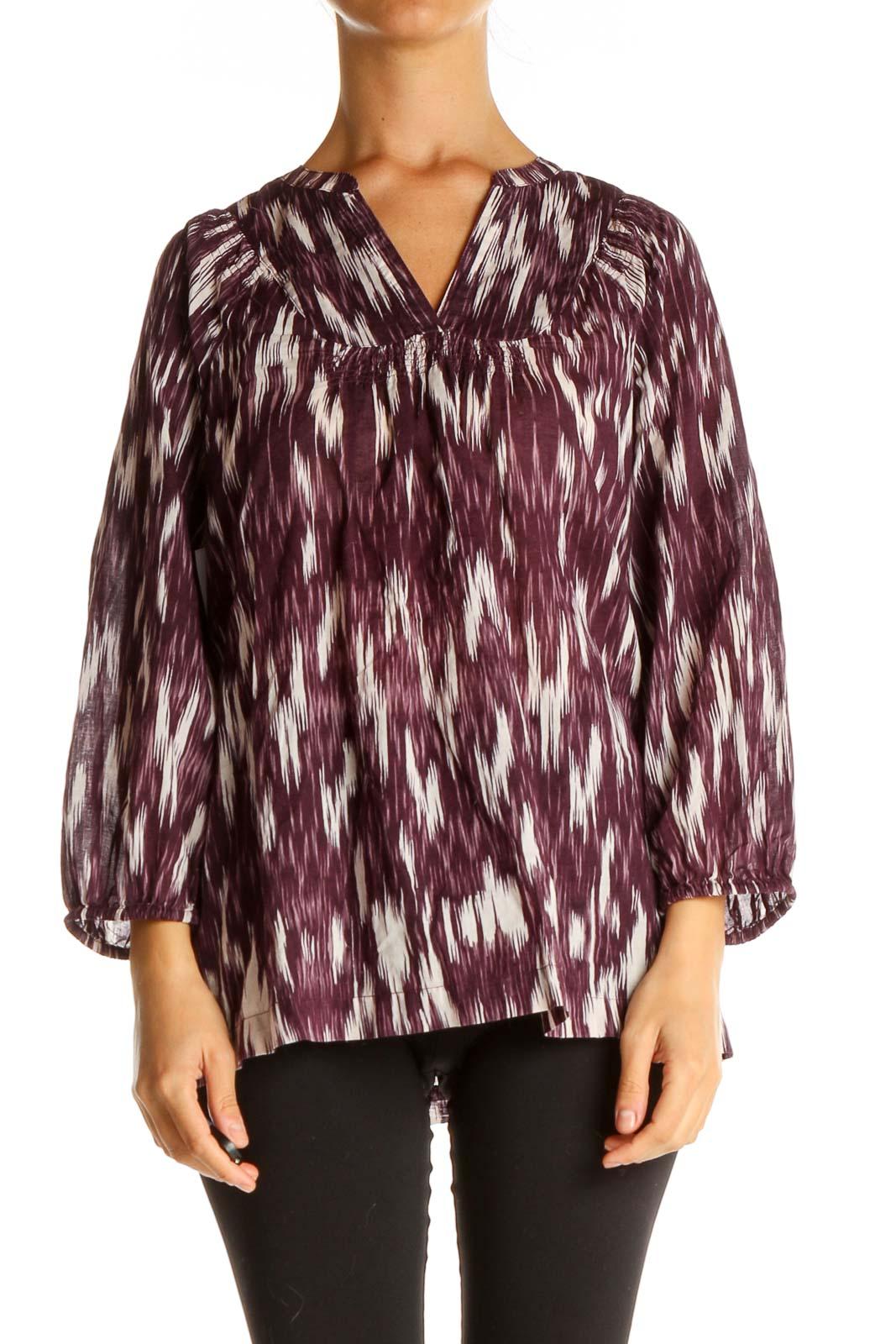 Purple Geometric Print All Day Wear Blouse Front