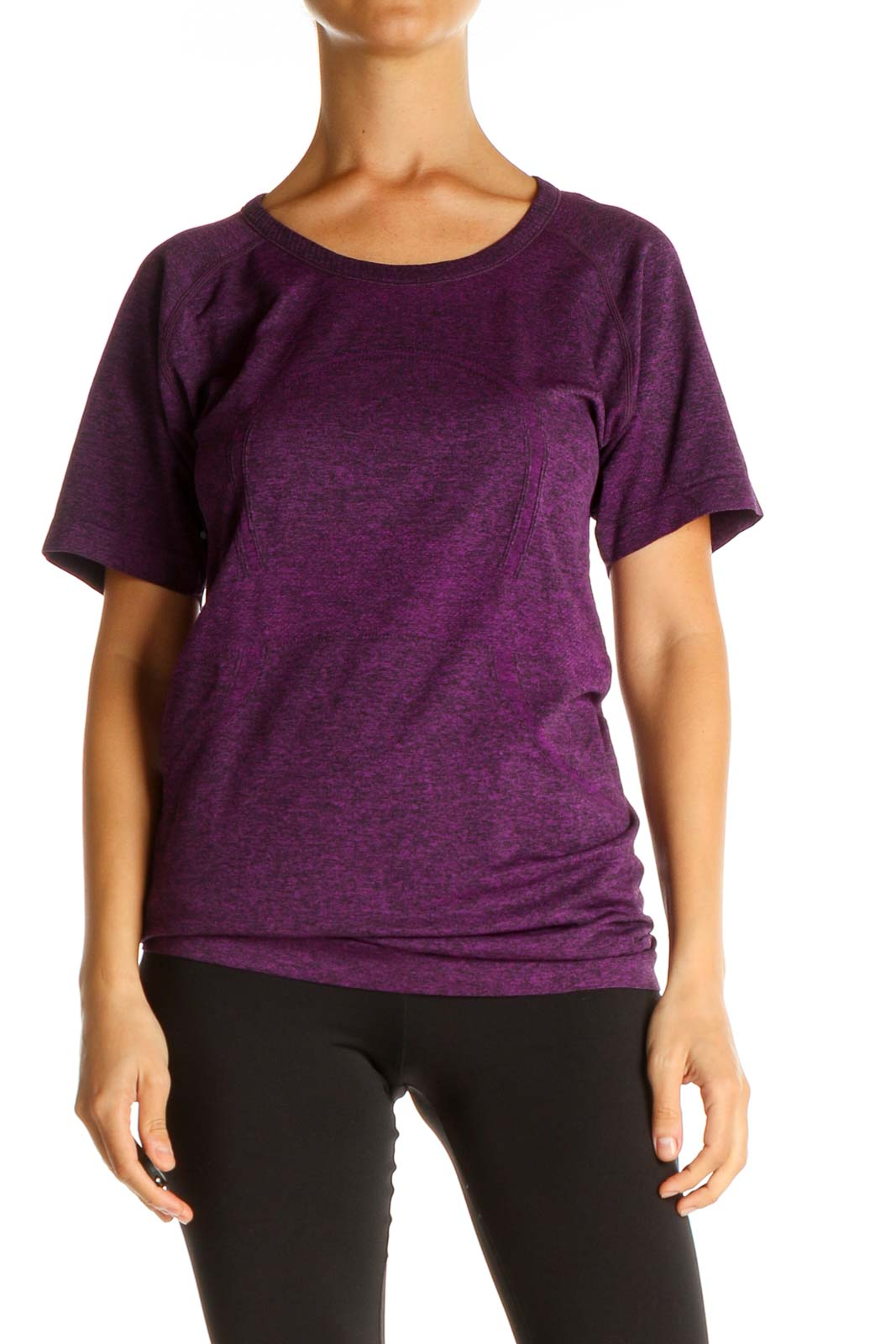 Purple Solid Activewear T-Shirt Front