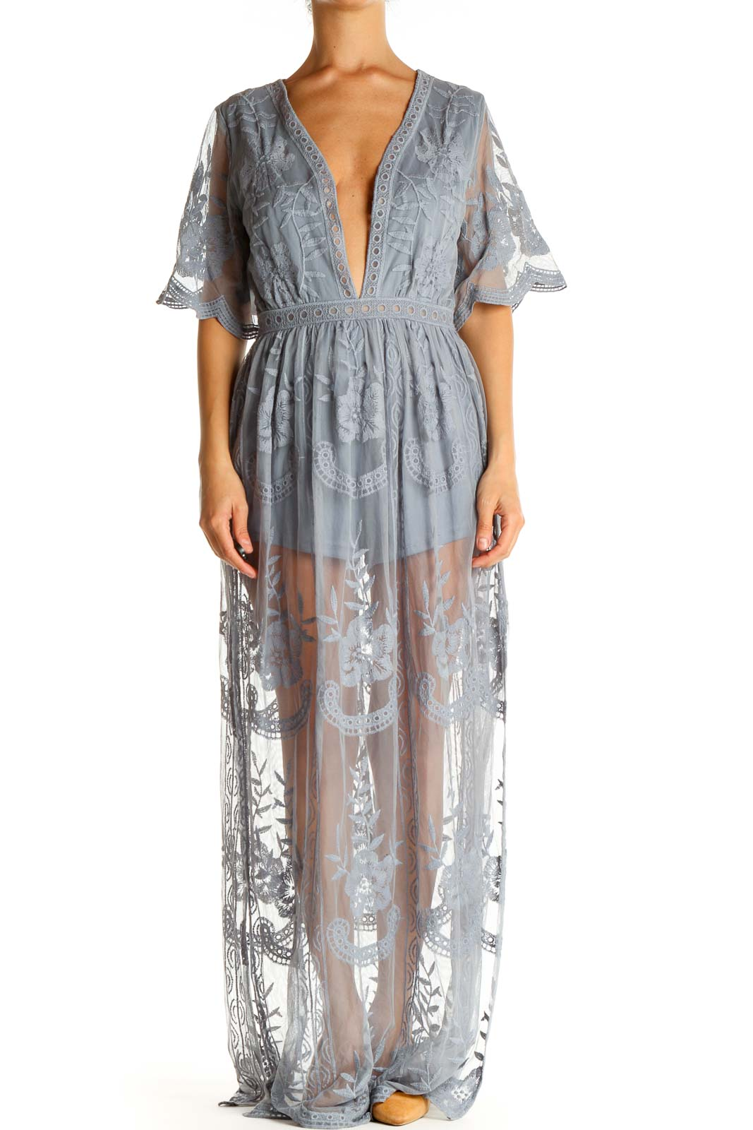 Gray Lace Bohemian Fit & Flare Dress Front