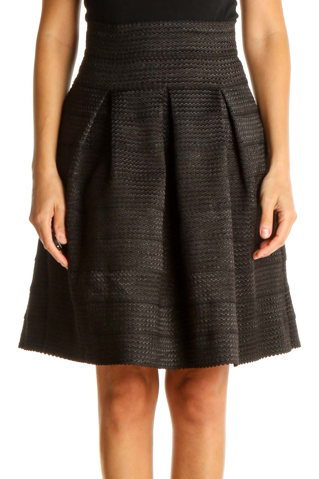 Black Textured Brunch A-Line Skirt Front