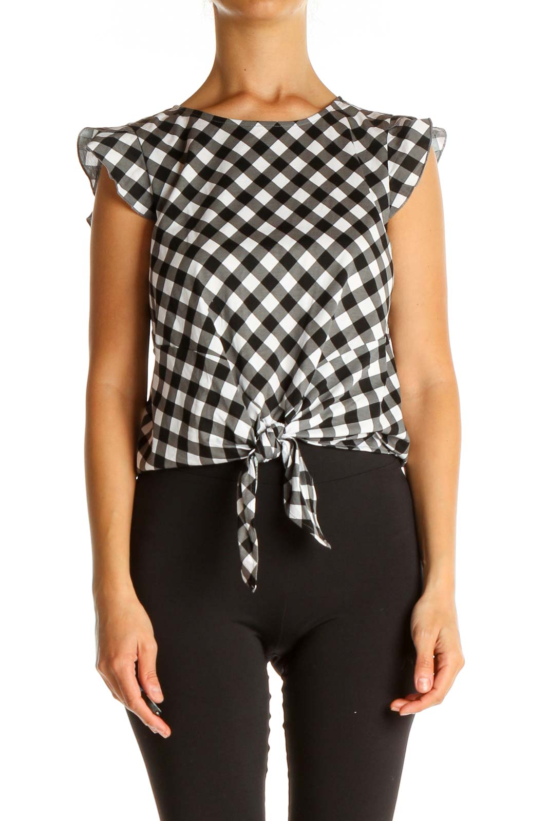 Gray Checkered Brunch Blouse Front
