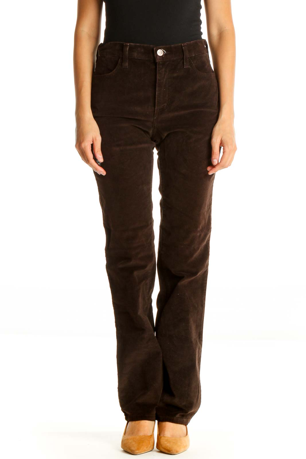 Brown Solid All Day Wear Pants Front