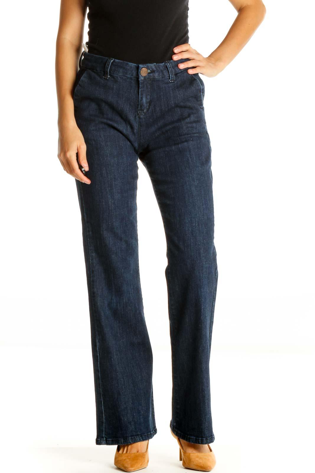 Blue Straight Leg Jeans Front