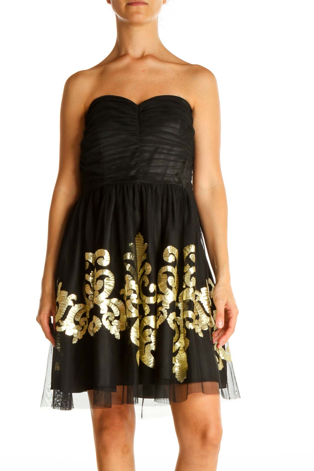 Black Printed Retro Fit & Flare Dress Front